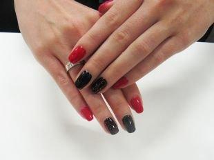 Маникюр гель лаком, красно-черный маникюр по фен-шуй с узором