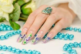 Дизайн ногтей, дизайн ногтей - френч с цветочным орнаментом