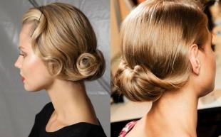 Карамельно русый цвет волос на средние волосы, элегантная вечерняя укладка для тонких волос