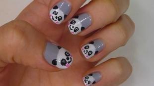 Серый маникюр, милый маникюр с пандами