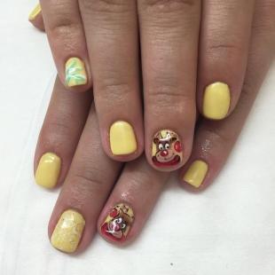 Рисунки на коротких ногтях, желтый дизайн ногтей