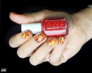 Рисунки на ногтях своими руками, водный маникюр в ярких тонах