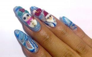 Рисунки с узорами на ногтях, новогодний дизайн нарощенных ногтей