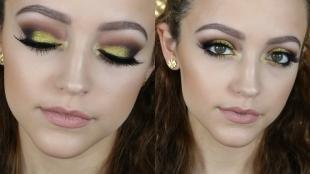Макияж для тёмно зелёных глаз и тёмных волос, макияж с желтыми тенями