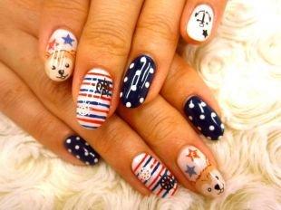 Рисунки на ногтях своими руками, оригинальный маникюр с горошком, полосками, морской тематикой и рисунками мишек