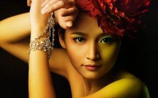 Азиатский макияж, многокрасочный макияж для карих глаз