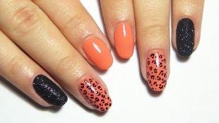 Оранжевый маникюр, черно-коралловый маникюр с леопардовым принтом