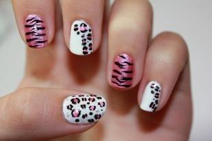 Розовый маникюр, маникюр с тигровым и леопардовым принтом