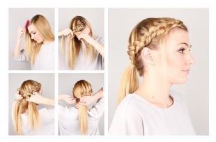 Цвет волос золотистый блонд, оригинальная прическа с косой вокруг головы