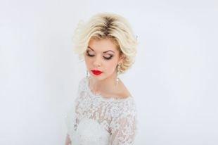 Прически в стиле 50 х годов на короткие волосы, свадебная прическа на короткие волосы - укладка