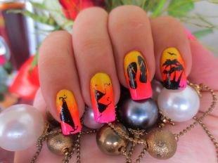 Оранжевый маникюр, яркий пляжный дизайн ногтей
