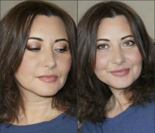 Возрастной макияж для нависшего века, макияж в коричневых тонах