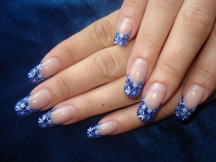 Китайская роспись на ногтях - василек