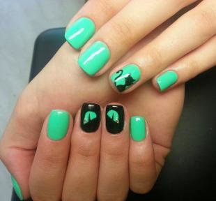 """Рисунки на черных ногтях, дизайн ногтей """"черный кот"""""""