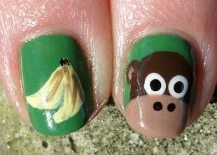 Детские рисунки на ногтях, забавный маникюр с обезьянкой