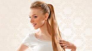 """Прическа хвост на длинные волосы, праздничная прическа на основе """"конского хвоста"""""""