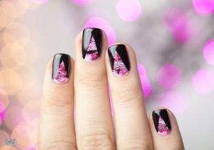 Маникюр на очень коротких ногтях, стильный геометрический маникюр на короткие ногти