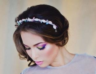 Свадебный макияж с фиолетовыми тенями, яркий макияж глаз на свадьбу