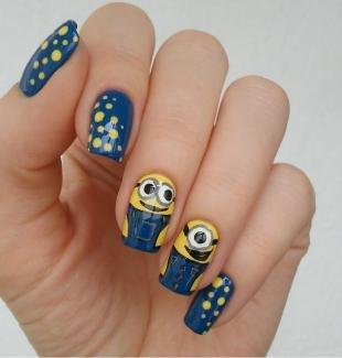 """Маникюр хорошее настроение, дизайн ногтей """"миньоны"""""""
