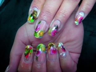 Френч с цветами, маникюр с цветами и фруктами