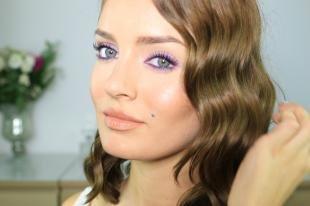 Свадебный макияж с фиолетовыми тенями, макияж на 8 марта для серых глаз