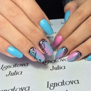 Ажурные рисунки на ногтях, градиентный дизайн ногтей с узором