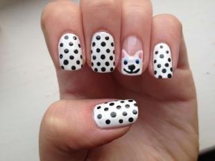 Рисунки с кошками на ногтях, белый маникюр с черным горошком и рисунком