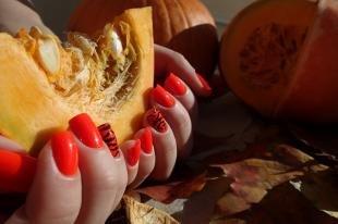 Рисунки на красных ногтях, оранжевый маникюр на хэллоуин