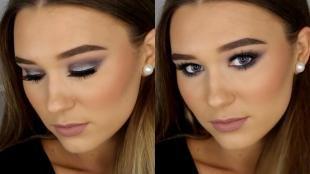 Греческий макияж, роскошный вечерний макияж для серых глаз