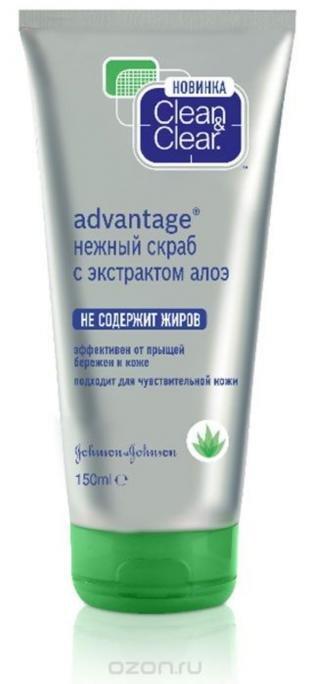 """Скраб для лица от прыщей, clean&clear нежный скраб для лица """"advantage"""", с экстрактом алоэ, для чувствительной кожи, 150 мл"""