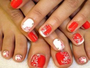 Маникюр на коротких ногтях, дизайн маникюра и педикюра в красно-белом цвете