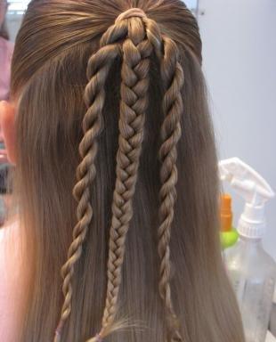 Натурально русый цвет волос, прическа для девочки на выпускной в детском саду