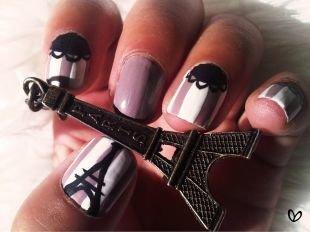 """Идеи рисунков на ногтях, маникюр лаком цвета """"молочный шоколад"""""""