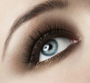 Коричневый макияж, макияж для серо голубых глаз
