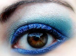 Макияж для карих глаз, волшебный макияж для карих глаз сине-голубыми тенями
