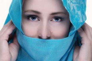Естественный макияж для голубых глаз, миловидный восточный макияж