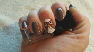Коричневый маникюр, коричневый дизайн ногтей с совами